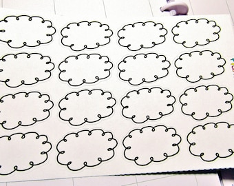 Black And White Doodle Cloud Stickers, Planner Calendar Doodle Cloud Stickers, Scrapbooking Cloud Stickers, Bullet Journal Stickers