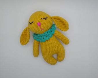 Plush Bunny, Bunny Doll, Stuffed Bunny, Girl Bunny, Cotton Toy, Knit Toy, Handmade Toy, Stuffed Animal, Soft Toy, Baby Girl Gift