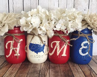 Home American Mason Jar, red white and blue, United States, 4th of July, american flag, Set of 4 pint size Mason jars, Rustic Home decor