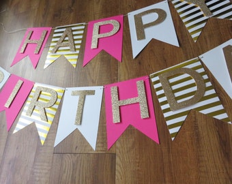 Happy Birthday Banner - Pink and Gold ( Birthday -  Party Decorations)