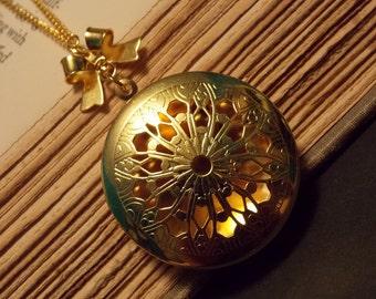 Gold Filigree Locket Necklace
