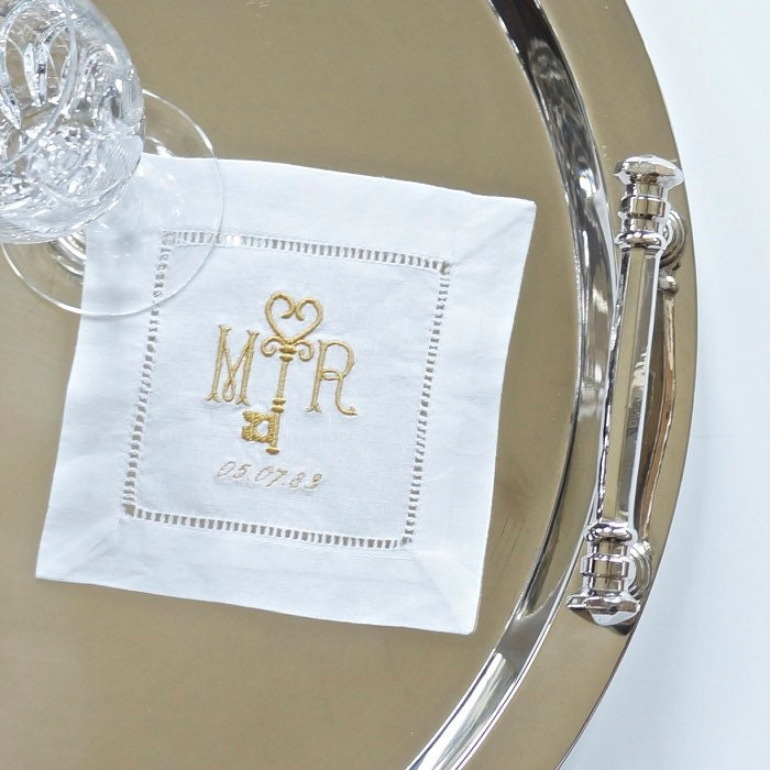 Key Design Monogram Embroidered Dinner & Cocktail Napkins, Bath Hand  Towels, Hostess Gift - Wedding Keepsake for Special Occasions
