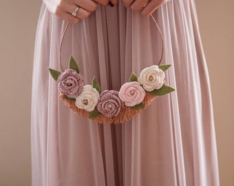 Bridal flower hoop, wedding hoop decor, alternative wedding bouquet, floral copper hoop, crochet roses, modern bride hoop, rose gold wedding
