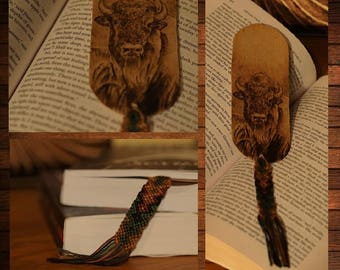handmade wooden bookmark pyrography bison