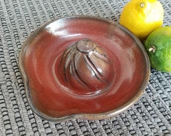 Citrus Juicer in Iron Red Handmade Ceramic Pottery Lemon Lime