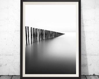 Coastal Wall Art, Beach Wall Art, Ocean Wall Decor, Sea Wall Art, Bridge Wall Art, Waves Wall Art, Wall Decor, Black and White Wall Art