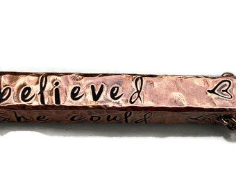 She Believed She Could So She Did, Copper Bar Necklace, Inspirational Jewelry, Quote Necklace, Gifts for her, Graduation Gift, Sister Gift