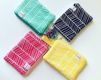Herringbone zipper pouch, Coin purse, Minimalist pocket wallet, Change purse, cash wallet, mini zipper pouch, gadget bag earbud case