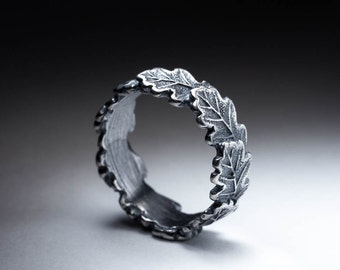 Oak Leaves Ring, sterling silver, selectable size, handmade, MADE to ORDER ..... Oak Leaf, Foliage Ring