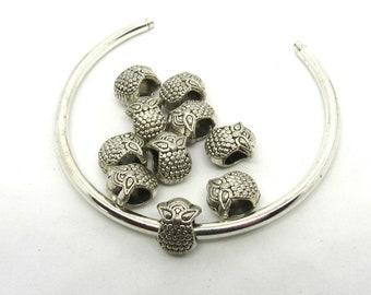 10 Antique Silver ToneOwl Euro Style Charm Beads (B510m4)