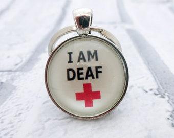 Deaf awareness,medical alert,deaf jewelry,sign language,medical id,special needs,disability awareness,I am deaf,ICE keyring,deaf charm