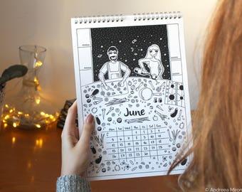 Couple Calendar 2018, Illustrated Wall Calendar 2018, Coloring Calendar, Inspirational Calendar For Couples, Love Calendar, Happy Calendar