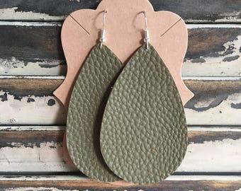 Olive Green Teardrop Earrings - Army Green Handmade Earrings - Faux Leather Earrings - Lightweight Earrings