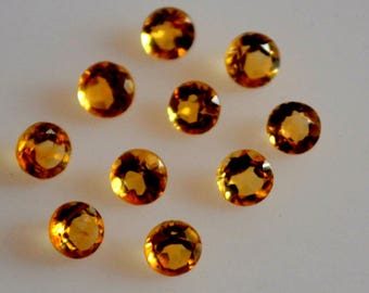 3 mm natural citrine round faceted  loose gemstone AAA quality