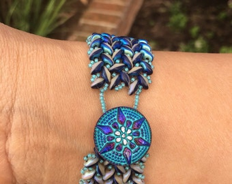 Handmade Superduo Beaded Herringbone Bracelet in Blue and Ivory