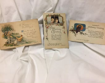 lot of 3 1930s birthday postcards