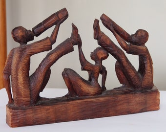 Vintage Folk Art Wood Carving Sculpture Musicians Haiti Signed