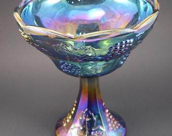 Carnival Glass, Indiana Glass Compote Dish, Blue Carnival Glass, Harvest Grape Pattern, Iridescent Blue Glass, Vintage by RosebudsGlitter