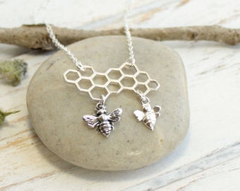 Sterling Silver Honey Bee Family Tree Necklace... Choose how many Baby Bees hang from the honeycomb