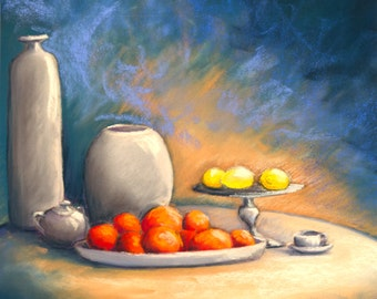 Nature Morte aux Pots, Pommes et Citrons - pastels on card 360g, framed