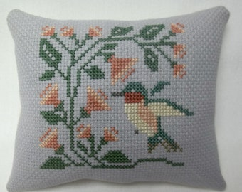 Hummingbird With Flowers Cross Stitch Mini Pillow, Spring Summer decor