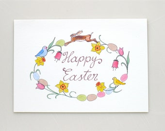 Easter Wreath card - Easter - bunny - daffodils - easter flowers - tulips - eggs