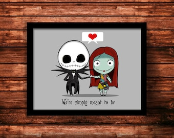 Jack Skellington and Sally, Nightmare Before Christmas inspired print