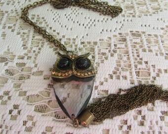 Vintage Owl Pendant Necklace/Vintage Owl Necklace/Vintage 70's Owl Jewelry/Vintage 70's Boho Owls/Vintage Hippie Owl Jewelry