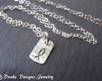 TINY Sterling Silver ICHTHUS Necklace Hand stamped Christian fish
