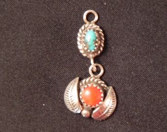 Vintage Pendant Native American Turquoise & Coral Silver Leaves Marked D.Paul