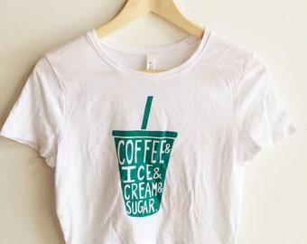 Coffee Crop Top, Screen Printed T Shirt, Coffee Shirt, Crop Top