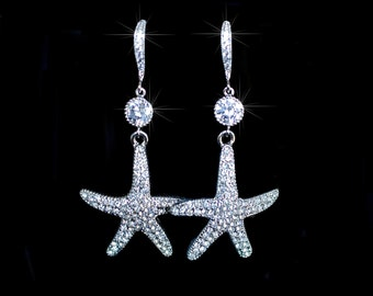 Handmade CZ & Crystal Rhinestone Starfish Dangle Earrings (Sparkle-2077)