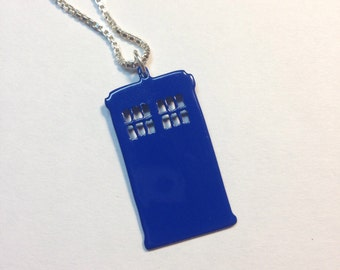 "Blue TARDIS necklace Dr Who Whovian Call Box 1.25"" tall"