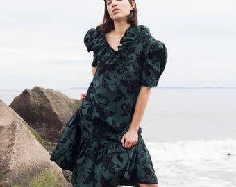 Army green floral print ruffled dress