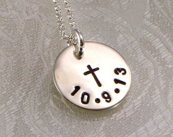 Cross Necklace  with Date or Name - Hand Stamped  Small  Silver Disc - Great for Girls or Boys First Communion, Baptism, Confirmation