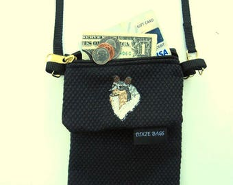 Blue Merle  Collie Dog, Large Cell Phone Case with a Coin Purse, 2 Piece Set