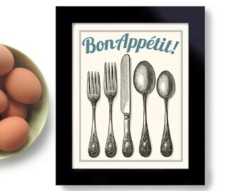 Kitchen Art Print Decor Vintage Style Bon Appetit Fork and Spoon Silverware Cooking Quote French Cuisine Gift Silverware