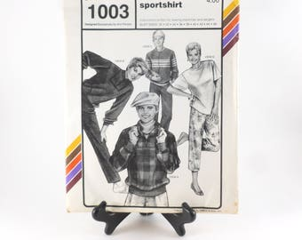 Stretch and Sew Action Sportshirt Sewing Pattern 1003 Uncut Designed by Ann Person 1985
