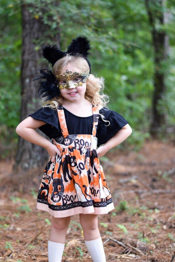 Girls Halloween Suspender Skirt  - Halloween Boo Cats Skirt - Boo - Halloween Skirt with Cats - Orange and Black Skirt