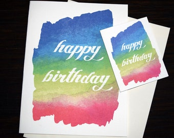 Large birthday card etsy large oversized birthday card beautiful hand painted happy birthday card lovely handmade watercolor card bookmarktalkfo Choice Image