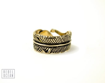 Feather Ring Adjustable Feather Wrap Ring Boho Jewelry - FRI002