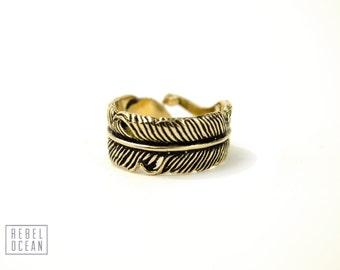 Feder-Ring-einstellbare Feder-Wrap Ring Boho Schmuck - FRI002