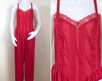 30% Off Sale 80s Red Nylon Lace Lingerie Jumpsuit, XL to Plus Size