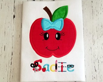 Apple Shirt - Back To School Shirt, School Dress, Apple Birthday, Apple Party, Girl School Clothes, Coordinating Sibling, Apple Monogram