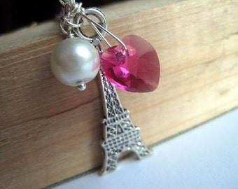 Paris Necklace, Eiffel Tower Necklace, Pink Swarovski Crystal Heart, White Pearl, Eiffel Tower Charm