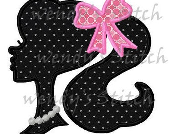 little girl silhouette applique machine embroidery design instant download