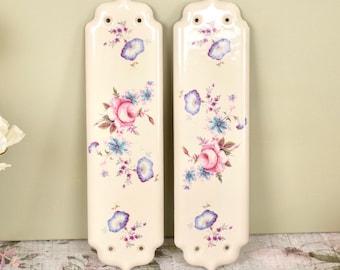 Pair of vintage ceramic door finger plates rose floral design.  sc 1 st  Etsy & Door finger plates   Etsy