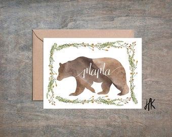PRINTABLE: 5x7 Mama Bear Card / Mother's Day Card