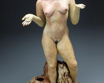 Ceramic Figure Sculpture, Standing Nude Woman Figurine, Earth Goddess Shrugs, Mature Art