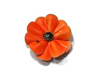 Orange Enamel Poppy Flower Brooch, 1960s Mod Flower Pin, Flower Power Brooch, Costume Jewelry
